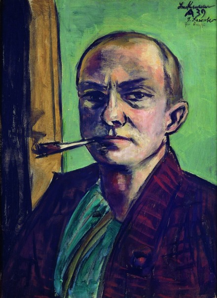 selfportrait on green in a green shirt 1938, museum an der bildenden kuenste, leipzig